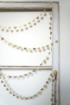 Heart of Gold Paper Garland 10 feet 3 metres by ByPennyLaneStudio