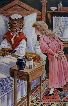 """""""little red riding hood"""" illustration from """"the child's own book"""" c.1901 Little Pigs, Little Red, Red Riding Hood Wolf, Psychedelic Drawings, Grimm Fairy Tales, Big Bad Wolf, Fairytale Art, Children's Book Illustration, Food Illustrations"""