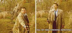 ''You try fake-throwing something.'' (S5 gag reel) - Supernatural - Misha Collins
