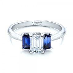 Custom Diamond and Blue Sapphire Engagement Ring #102031