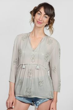Chan Luu Beaded Peasant Blouse in Dove/Silver