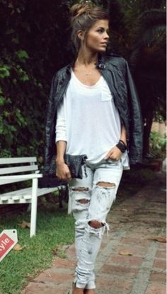 Will forever be in love with ripped jeans love love love! Loving the white Top and black leather jacket. Makes the perfect spring OUTFIT #musthave #imgonnabeaverybrokegirlforever