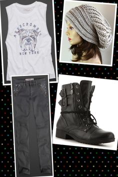 A&F tank and jeans Etsy Beanie DSW Boots