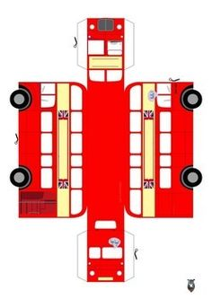 *UPDATED* British Red Bus paper craft by Bear proof printables Bus Crafts, 3d Paper Crafts, Sand Crafts, Seashell Crafts, Paper Toys, Preschool Crafts, Crafts For Kids, Arts And Crafts, Party Crafts