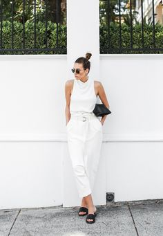 modern legacy fashion blog Bassike slouch pant all white outfit street style Camilla and Marc MONDEFILE slide sandals (4 of 6)
