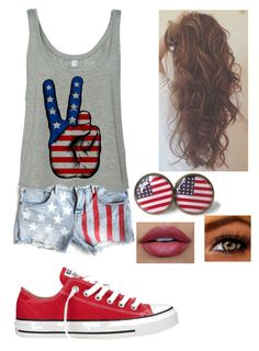 """""""HaPpy FoURth oF jUlY!"""" by shawnmendes30 ❤ liked on Polyvore featuring Converse, women's clothing, women's fashion, women, female, woman, misses and juniors"""