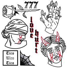 Sketch Tattoo Design, Tattoo Sketches, Tattoo Drawings, Sketch Design, Flash Art Tattoos, Tattoo Filler, Spooky Tattoos, Old School Tattoo Designs, Doodle Tattoo