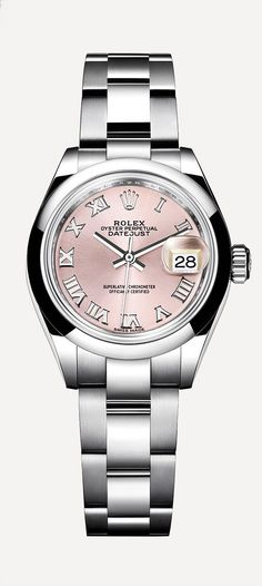 The new Rolex Lady-Datejust 28 in 904L steel with a pink dial. The perfect combination of grace, precision and reliability.