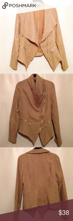 Asymmetrical Suede-like Jacket. Like new condition • Super cute for fall! •100% polyester, but feels like suede • Beige color • Could be worn open or zippered • Two cute working zippered pockets • Size medium. Rampage Jackets & Coats Utility Jackets