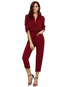 Verdusa Women's Casual Long Sleeve Drawstring Rompers Jumpsuits Burgundy M