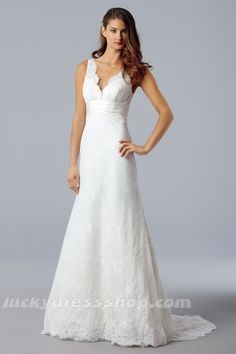 Simple White A-Line/Princess V-neck Organza Beach/Destination Wedding Dress With Lace (MW381G)