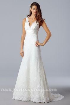Simple White A-Line/Princess V-neck Organza Beach/Destination Wedding Dress With Lace (MW381G)