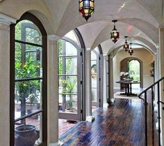 My dream home would look like this! Beautiful French doors and arches Villa Plan, Beautiful Space, Beautiful Homes, Future House, My House, Interior And Exterior, Interior Design, Exterior Doors, House Goals