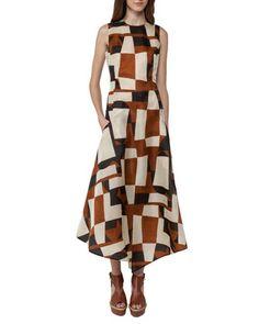 Venetian-Print+Organza+Midi+Dress,+Brown/White+by+Akris+at+Bergdorf+Goodman.
