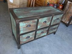 Industrial 6 Drawer Dresser Shabby Chic Blue Green Distressed Finish with Metal on Reclaimed Wood