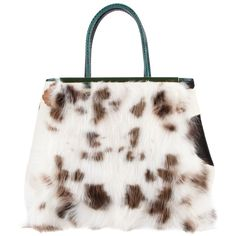FENDI cow print furry tote (£2,152) ❤ liked on Polyvore featuring bags, handbags, tote bags, fendi, purses, purse tote, tote handbags, hand bags, fendi tote bag and python tote