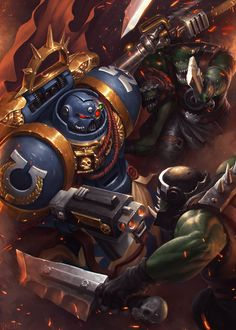 1024x1434 px Orks vs Ultra Marine