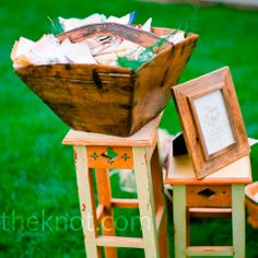The bride set out a box of vintage hankies she had collected over the year so guests could wipe their tears of joy.