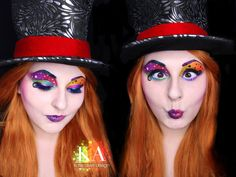 Mad Hatter Makeup w/ Tutorial by KatieAlves on DeviantArt Mad Hatter Diy Costume, Mad Hatter Makeup, Rave Makeup, Scary Makeup, Disney Halloween Costumes, Halloween Ideas, Halloween Party, Halloween 2020, Female Mad Hatter