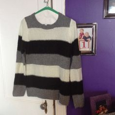 Striped sweater Black white and grey striped sweater. Brand new never worn. Old Navy Sweaters