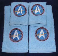 Embroidered Star Trek Towel & Washcloth Set Geekery Nerdy Starfleet Command - pinned by pin4etsy.com