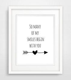"""so many of my smiles begin with you""- Spruch von World of Words auf DaWanda.com"