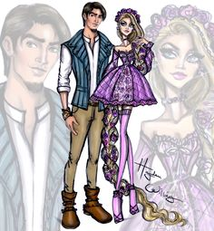 Hayden Williams Fashion Illustrations: 'Disney Darling Couples' by Hayden Williams: Rapunzel & Flynn Rider