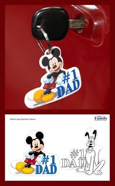With just a few snips and a quick bake, this printable becomes a hard plastic keychain that Dad can treasure for years. Shrinky Dinks, Mickey And Friends, Disney Family, Fathers Day, All Things, Mickey Mouse, Creations, Dads, Snoopy