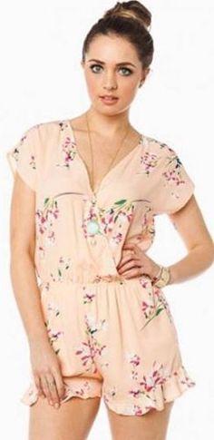 Peach Floral V Neck Wrap Front Short Sleeve Elastic Waist Ruffle Hem Romper