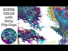 HUGE CELLS with Acrylic Pouring Dirty Flip Cups and Negative Space Demonstration - YouTube