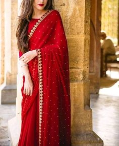Saree designs - Red colore designer saree with moti work wedding wear saree exclusive Saree Party wear saree Bollywood Style Designer saree – Saree designs Saree Look, Elegant Saree, Saree Designs Party Wear, Indian Sari Dress, Indian Dresses, Stylish Sarees, Saree Blouse Designs, Party Wear Sarees, Partywear
