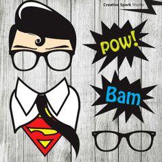 Superhero Props - Clark Kent Superman  Photo Booth Props - and speech bubbles - Printable - DIY Pdf Digital File