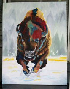 Buffalo Charging - Chalkboard Artist and Illustrator in Portland Buffalo Painting, Buffalo Art, Buffalo Tattoo, Cow Art, Living Legends, Animal Paintings, Thunder, Art Drawings, Moose Art