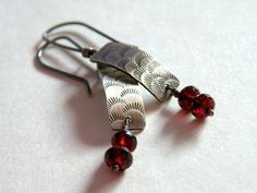 Blood Sisters   Sterling Earrings with Garnet Drops by BlueGnome, $35.00