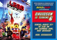 Lego invitation, Lego personalized invitation, Lego party invitation