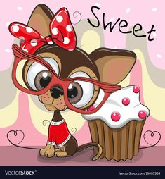 Greeting card cute puppy with cake Royalty Free Vector Image