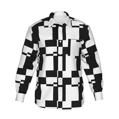 シンプルな幾何学模様のグラフィックシャツです。/『幾何学模様グラフィックシャツ 白黒』 - 7th Spirits