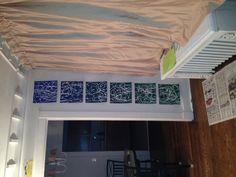 Gradient panels with white paint swirls