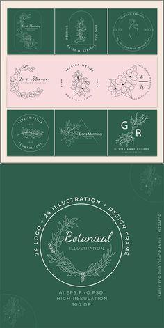 floral logo | botanical logo | hand drawn botanical logo | floral illustration Modern Resume Template, Resume Template Free, Logo Templates, Botanical Illustration Black And White, Flower Svg, Hand Logo, Floral Logo, Floral Illustrations, File Format