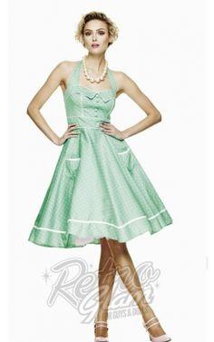 Retro Glam - Hellbunny Mint Green Olive Dress