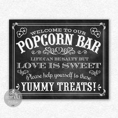 Popcorn Bar 8x10 Wedding Printable Chalkboard by PrintablePixels, $5.00