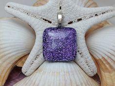 Purple  Dichroic Fused Glass Jewelry  by RyanstonesFusedGlass, $18.00