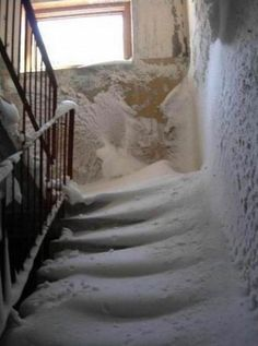 abandoned stairs in snow