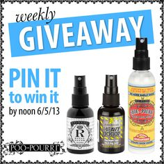 Weekly Giveaway!! Win all 3 products by repining!! #giveaway #prize #contest #bathroom #poopourri
