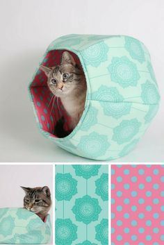 This Cat Ball® cat bed is made in tone on tone teal flower with some bright teal and hot pink polka dots in the lining. These 100% cotton fabrics are from the Riley Blake Cottage Wallpaper collection