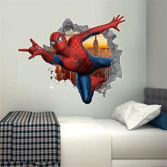Modern Kids Bedroom, Teen Bedroom Designs, Boys Bedroom Decor, Wall Stickers Avengers, Spiderman Bed, Boy Room, Kids Room, Jugendschlafzimmer Designs, Beautiful Room Designs