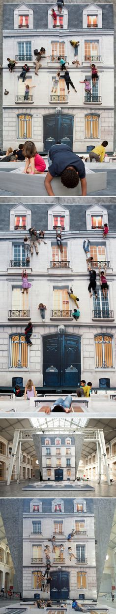 I really really want to dangle myself from one of those pretty french balconies… from the safety of the floor! Leandro Erlich is an amazing installation artist from Argentina. This work, titled Bâtiment, is not new {2004 I believe} but I'm still in complete awe. This facade was placed on the floor {at a group show in Paris}, with a huge mirror positioned above it at a 45 degree angle resulting in this gorgeous/death defying illusion!