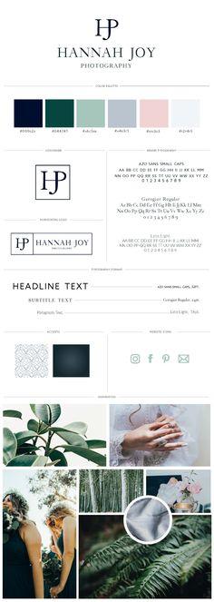 Classic and timeless branding board for photographer using monogram styled logo. Soft, feminine, classic, and timeless. | Get your own custom brand board today!