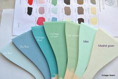 Best pastel color combinations for kitchen cabinets Pastel Colors, Colours, Bedroom Colors, Vintage Green, Chalk Paint, Color Combinations, Shabby Chic, Kitchen Cabinets, Color Palettes