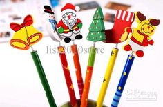 Wholesale Freeship 102 Pieces Korea Countryside Cartoon Wooden Baby Kids Santa Pencil 22.5cm Christmas Gift, Free shipping, $0.31-0.47/Piece | DHgate